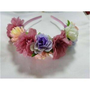 Haarreif mit Blumen, Kunststoff, rosa