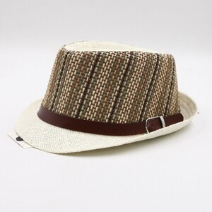 Herren-Hut mit Band und Schnalle Hut Sommerhut Strohhut, beige