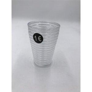 Zahnputzbecher, geriffelt, Ø 8 cm, transparent