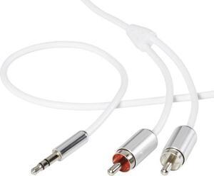 SpeaKa Professional SP-3957164 Cinch / Klinke Audio Anschlusskabel [2x Cinch-Stecker - 1x Klinkenstecker 3.5 mm] 3.00 m Weiß SuperSoft-Ummantelung