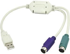 LogiLink USB 1.1 Anschlusskabel [1x USB 1.1 Stecker A - 2x PS/2-Buchse] 15.00cm Grau