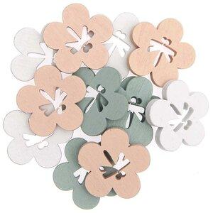 Holzstreu Blumen apricot-weiß-grün 12 Stück