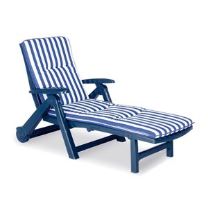 Rollliege Charleston inklusive Auflage Farbe blau-weiß