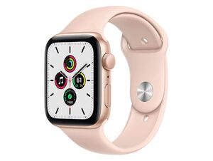 Apple Watch SE, 44 mm, Aluminium gold, Sportarmband sandrosa