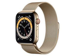 Apple Watch Series 6, Cellular, 44 mm, Edelstahl gold, Milanaise gold
