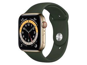 Apple Watch Series 6, Cellular, 44 mm, Edelstahl gold, Sportarmband zyperngrün