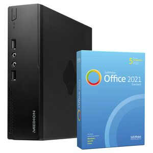MEDION AKOYA® S22003, Intel® Core™ i3-5005U, Windows 10 Home, 256 GB SSD, 8 GB RAM, Mini-PC, inkl. SoftMaker Office Standard 2021