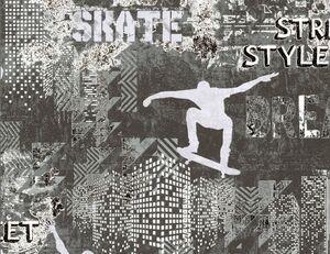 Vliestapete Skate silber