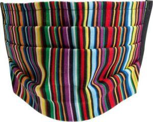 Mund-Nasen-Maske, schwarz/multicolor gestreift mehrfarbig