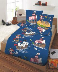 Kinderbettwäsche Pirat auf Schatzsuche, Linon, 135 x 200 cm blau Gr. 135 x 200 + 80 x 80