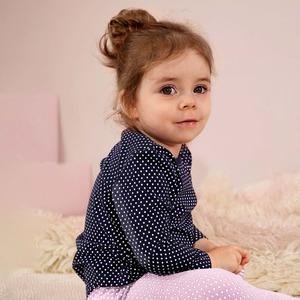 Baby-Mädchen-Shirt mit Punkten, 2er Pack