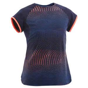 T-Shirt S500 Synthetik atmungsaktiv Gym Kinder marineblau Print