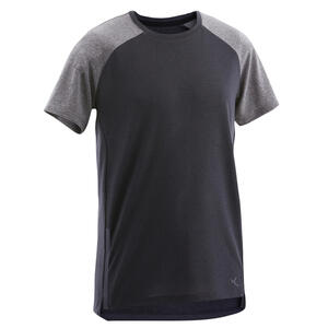 T-Shirt S580 atmungsaktiv leicht Gym Kinder schwarz/graue Ärmel