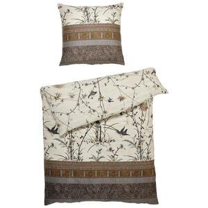 Bassetti Bettwäsche satin braun, creme , 49800 Fong , Textil , Floral , 135x200 cm , Satin , 005639007304