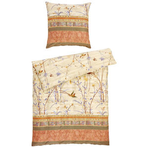 Bassetti Bettwäsche makosatin grün, beige , 20403 Fong , Textil , Ornament , 135x200 cm , Makosatin , pflegeleicht, bügelleicht , 005639007302