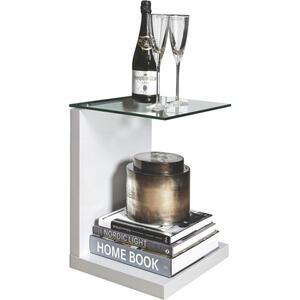 Livetastic Beistelltisch rechteckig weiß , Tupit , Glas , - Schubladen , 40x50x35 cm , Hochglanz, lackiert , 001749029201