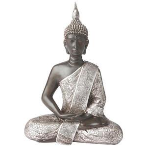 Ambia Home Buddha , Ny1314600 , Braun, Silberfarben , Kunststoff , 21.5x28x11 cm , lackiert, antik , sitzend, zum Stellen, handgemacht , 0083060021