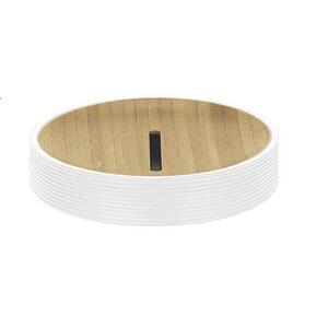 Kleine Wolke Seifenschale , Kyoto 5079 100 853 , Weiß, Hellbraun , Holz, Kunststoff , Bambus , 2.5x11.6 cm , lackiert , 003342043401