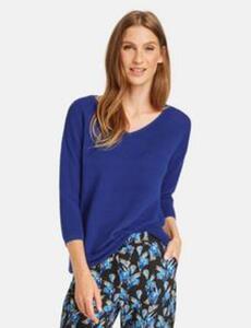 Quer gerippter Pullover Blau 42/M