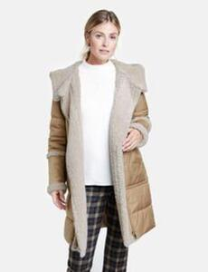 Mantel mit Materialmix Beige 44/L