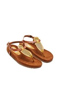 Damen Echtleder-Sandalen mit Lochmuster