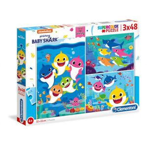 Baby Shark - Puzzle Supercolor - 3 x 48 Teile
