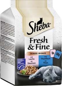 Sheba Fresh & Fine in Sauce mit Lachs und Thunfisch Multipack