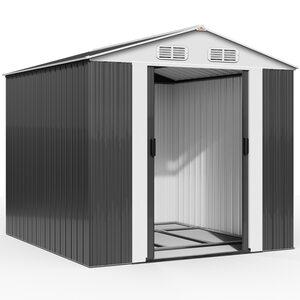 Deuba XXXL Gerätehaus mit Fundament Kantenschutz, Grau