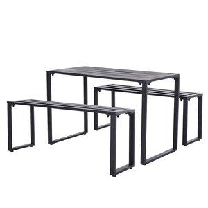 Outsunny Gartengarnitur als 3-teiliges Set schwarz