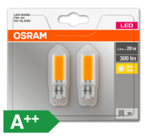 OSRAM LED PIN 30, G9/28 W, 300 lm, klar