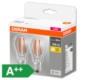 OSRAM LED-Glühlampen, E27/60 W, 806 lm, klar