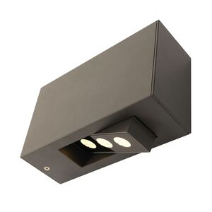 home24 Näve LED-Außen-Wandleuchte 3-Eye LED Modern Anthrazit Aluminium 7x12x20 cm (BxHxT)