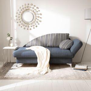 home24 loftscape Recamiere Limon Jeansblau Webstoff 182x79x86 cm mit Schlaffunktion und Bettkasten