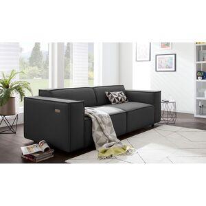 home24 Sofa Kinx 2,5-Sitzer Anthrazit Strukturstoff 223x70x96 cm (BxHxT) Modern
