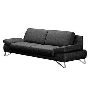home24 loftscape Sofa Silvano 3-Sitzer Schwarz Webstoff 228x81x90 cm (BxHxT) Modern