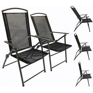 VCM Set Gartenstuhl Stühle Stuhl Metall Textilene klappbar verstellbar