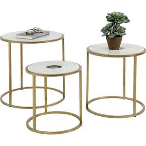 Kare-Design Beistelltischset rund beige, messingfarben , Limbo , Metall, Stein , 45x43x45 cm , glänzend, galvanisiert,Naturstein,Marmor , 001838029801