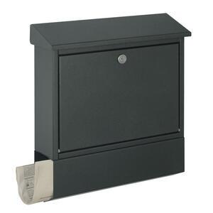 XXXLutz Briefkasten anthrazit , 43817-039 , Metall , 40x45x12 cm , pulverbeschichtet, verzinkt , Zeitungsrolle, 2 Schlüssel , 004781002101