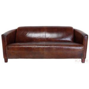 Kare-Design Sofa echtleder braun , Cigar Lounge , Leder , Kautschukholz , Vintage , 1-Sitzer , 176x70x83 cm , gebeizt,Echtholz , 001838051602