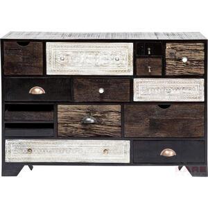 Kare-Design Kommode kiefer, mangoholz teilmassiv braun, schwarz, weiß , Finca , Holz , 14 Schubladen , 114x80x35 cm , lackiert,Echtholz , stehend , 001838061901