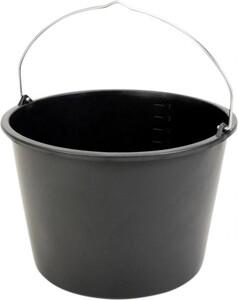 Baueimer 20 l ,  Kunststoff, schwarz, Knopfbügel, L-Skala