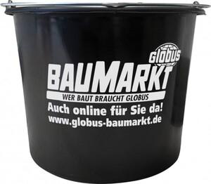 Baueimer 12 l ,  Kunststoff, schwarz, Knopfbügel, L-Skala
