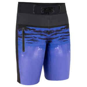 Boardshorts lang Surfen 950 Underwater blau