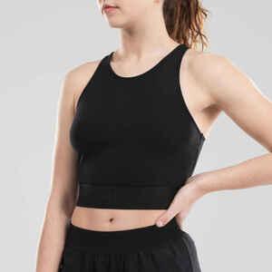Crop Top Modern Dance Baumwolle Damen schwarz