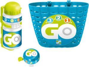 Körbchen + Trinkflasche + Klingel - Skids Control, blau
