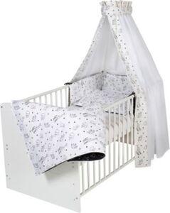 Bettset Origami Black, 4-teilig, Himmel mit Voile, 2-teilige Bettwäsche und Nestchen schwarz/weiß