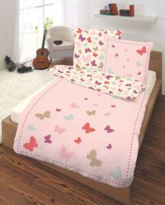Wende- Kinderbettwäsche Schmetterlinge, Renforcé, 135 x 200 cm rosa/pink Gr. 135 x 200 + 80 x 80