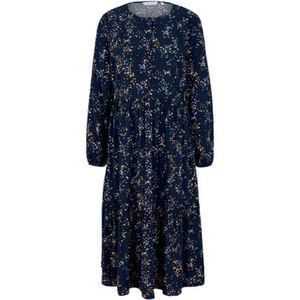 Tom Tailor Denim Kleid, Blumen-Print, Langarm, Rundhals, Viskose, für Damen