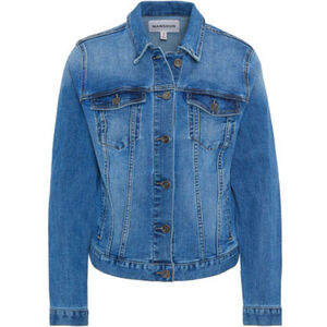 MANGUUN Jeansjacke, seitliche Taschen, hoher Baumwollanteil, uni, für Damen