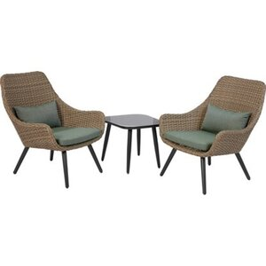 Balkonmöbel-Set Aliceville 3-teilig Polyrattan Grün-Grau